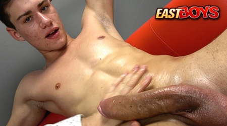 Horny college student jerking off