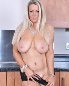 blonde exposes breasts