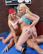 two blondes riding one stud