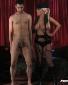 blonde controlling naked submissive