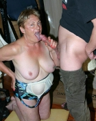 braless grandma giving blowjob
