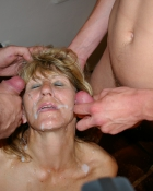 men dripping cum on a blonde