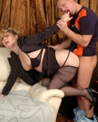 blonde bending over to get drilled