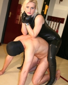 lady in full dominatrix attire