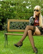 nylon wearing blonde smoking