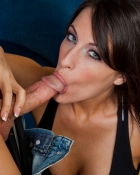 brunette giving a blowjob