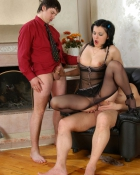 lady in lingerie with two guys