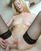 older blonde screwing dildo