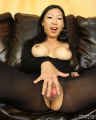 Asian chic in black nylons
