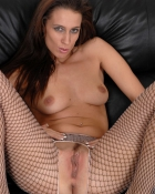 chick in fishnets exposing vagina