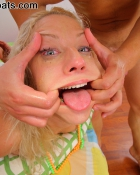 getting her mouth stretched open